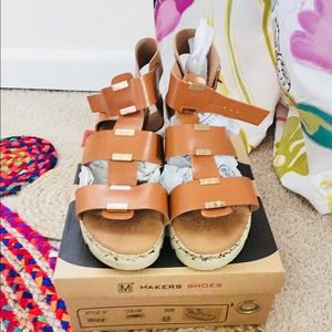 Makers shoes camel brow wedge sandals with straps